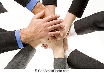 businesspeople, 一起, 手