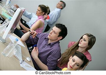 businesspeople, 上, an, 教育, 訓練