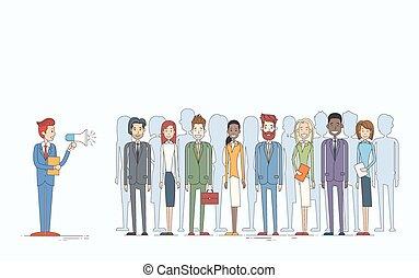 businesspeople, 人々, ビジネスマン, 同僚, リーダー, グループ, 上司, ビジネス, 把握, チーム, 拡声器, メガホン