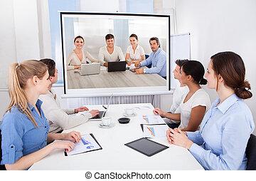 businesspeople, 參加, 電視會議