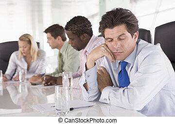 businesspeople, alvás, négy, tanácskozóterem, üzletember,...
