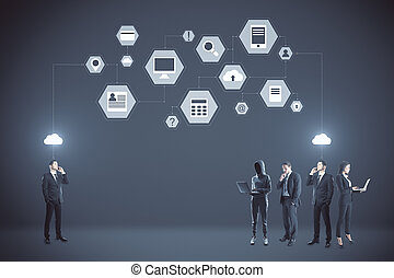 Businesspeople and abstract digital business interface