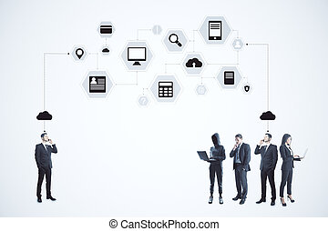 Businesspeople and abstract digital computing cloud interface