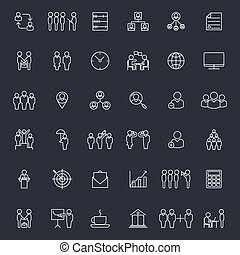 Businesspeople and business signs vector icons