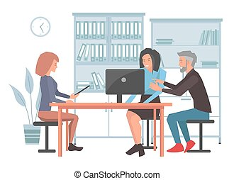 Businesspeople argue, discuss a project. Business meeting, working process in office room