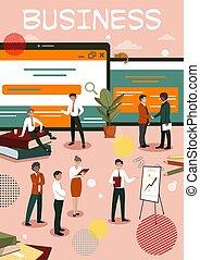 businesspeople, assistindo, reuniões, escritório