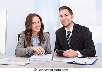 businesspeople, calculador, finanzas