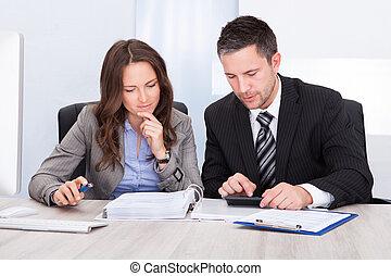 businesspeople, calculando, finanças
