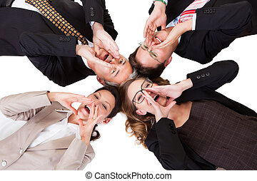 Businesspeople calling out