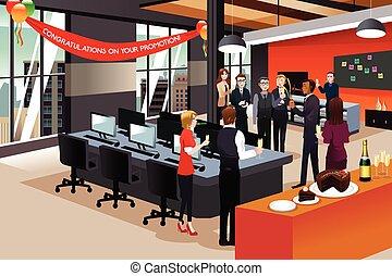 businesspeople, celebrar, su, colega, promoción