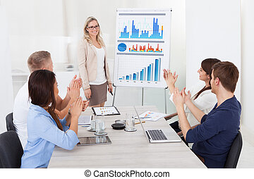 Businesspeople Clapping For Female Colleague After Presentation