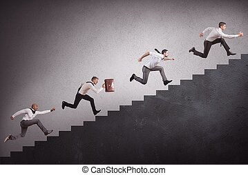 Businesspeople climbing stairs - Concept of competition with...