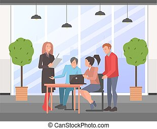 Businesspeople communicating, discuss a project, brainstorm together. Business meeting in office