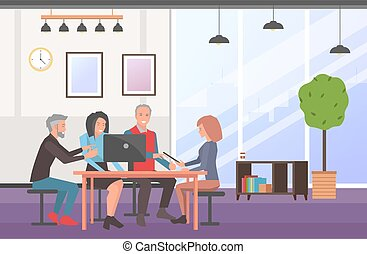 Businesspeople communicating, discuss a project. Business meeting, working process in office room