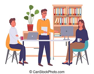 Businesspeople communicating, discuss a project. Colleagues meeting, working process in office room