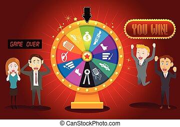 businesspeople, con, financiero, rueda de la fortuna