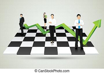 businesspeople, con, flecha, posición, en, tablero de...