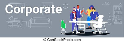 businesspeople coworkers standing together colleagues toasting drinking champagne during meeting corporate party concept modern office interior sketch doodle horizontal banner