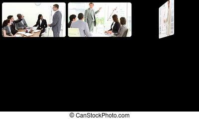 businesspeople, cselekedet, bemutatás