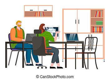 Businesspeople discuss a project. Business meeting, working process in office room with computer
