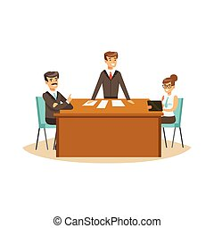 Businesspeople discussing at meeting in an office vector Illustration