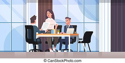 businesspeople discussing contract during business development meeting colleagues partners working with co-investment document negotiation concept office interior flat horizontal