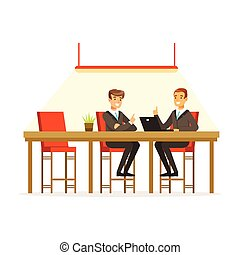 Businesspeople discussing ideas in the open space office, coworking people vector Illustration