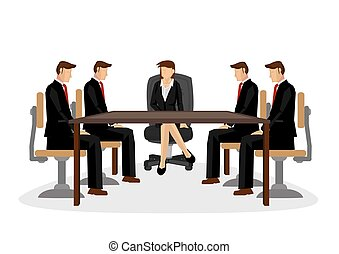 Businesspeople discussing together in a conference meeting.