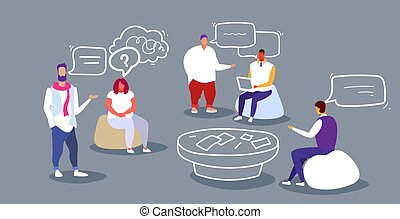 businesspeople discussion during training conference meeting business people men women creative team office workers teamwork briefing concept sketch doodle horizontal