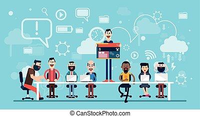 businesspeople, diseñador, tela, trabajando, equipo, lugar de trabajo