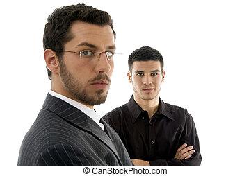 businesspeople, do góry, patrząc, aparat fotograficzny, zamknięcie, prospekt
