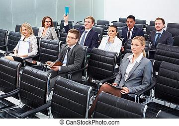 businesspeople, em, seminário