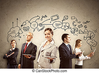 businesspeople, equipe, posar
