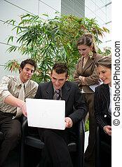 businesspeople, falando, e, rir