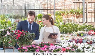 businesspeople, flowers., vérification, croissant
