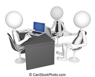 Businesspeople gathered around a table for a meeting. Isolated on white background