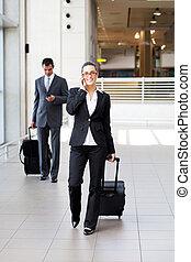 businesspeople, gehen, in, flughafen, mit, gepäck
