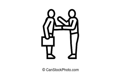 businesspeople greeting and discussing animated black icon. businesspeople greeting and discussing sign. isolated on white background