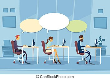 Businesspeople Group Communication Chat Dialog Sitting Desk...