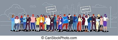 businesspeople group holding protest placard signboard business people crowd standing together city street landscape background demonstration concept sketch doodle horizontal full length