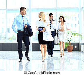 businesspeople group walking