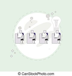 Businesspeople Group Working Creative Team Business People Sitting Office Desk Concept