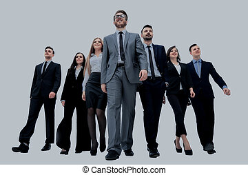 businesspeople, groupe, marche., isolé, blanc