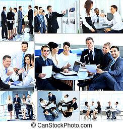 businesspeople, haben, versammlung, in, modern, buero