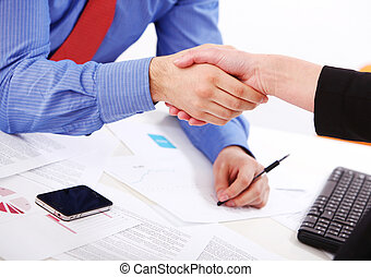 Businesspeople handshake at office