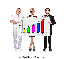 businesspeople holding chart