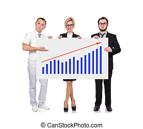 businesspeople holding graph