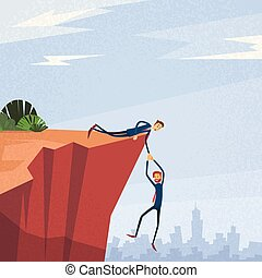 Businesspeople Holding Hands Cliff Support Concept