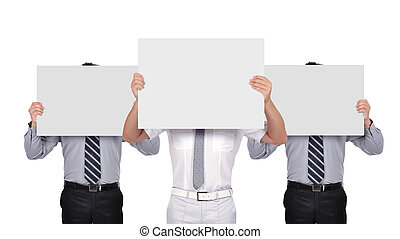 businesspeople holding poster