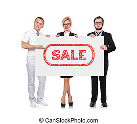 businesspeople holding sale